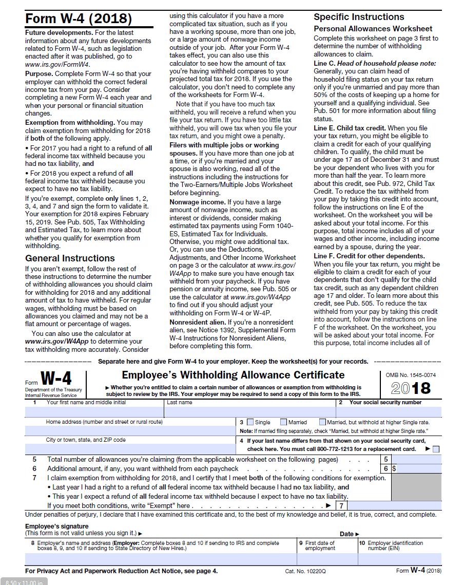 IRS W-4 2018